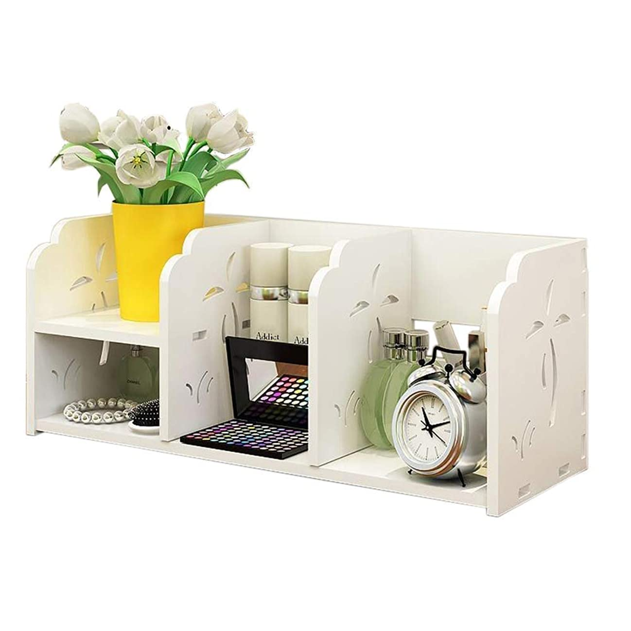 することになっているインシュレータ前文Selm 棚デスクトップ本棚ホームオフィスキャビネットDIY収納ラックブックラックウッドプラスチックボード