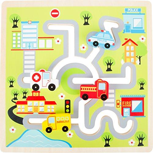 small foot 10590 Schiebe-Puzzle aus Holz mit Polizei- und Krankenwagen, Feuerwehrauto und Schulbus als Puzzleteile