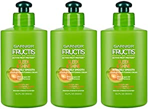 Garnier Fructis Sleek and Shine Intensely Smooth Leave-In Conditioning Cream, 10.2 Ounce (Pack of 3) (Packaging May Vary)