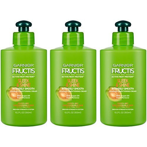 Garnier Fructis Sleek & Shine Shampoo, Condition + Leave-In Conditioning Cream Kit