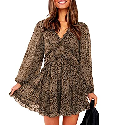 T1FE 1SFE Boho Ruffle Floral Print Dress Long Sleeve Deep V Neck Backless Swing Mini Dresses for Women Party Wedding