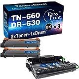 (3-Pack) Compatible 2-Pack TN-660 TN660 Toner Cartridge + 1-Pack DR-630 DR630 Drum Unit Used for Brother HL-L2340DW L2380DW L2340DWR DCP-L2500D L2540DNR MFC-L2720DW L2700DW Printer, by EasyPrint
