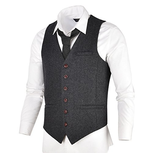 VOBOOM Herren Slim Fit Tweed Anzug Premium Weste aus Wollmischung mit Fischgrätmuster MEHRWEG, XXL, Dunkelgrau