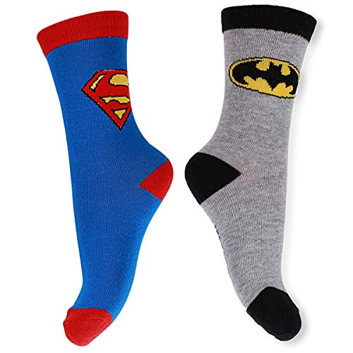 DC Batman & Superman Socken Set für Kinder, Größe:35/36 EU