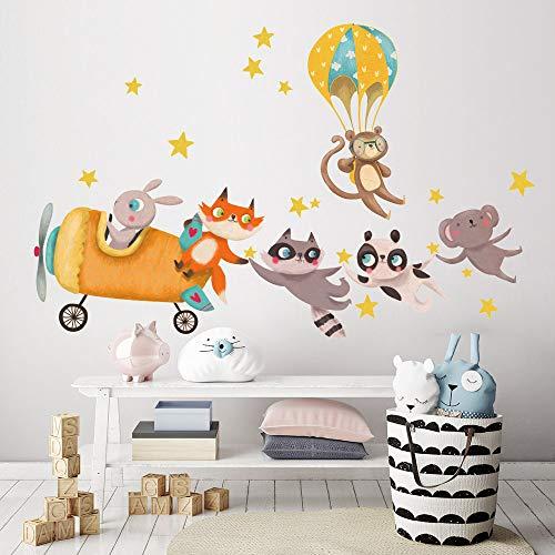 R00502 Adesivi Murali Soffice Effetto Tessuto Animaletti Aereo Decorazione Muro Bambino Neonato Nursery Cameretta Asilo Nido Carta da Parati Adesiva