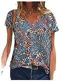 CuteRose Womens V-Neck Short-Sleeve Lounge Floral Printed Blouse Summer tee Shirt Blue XS