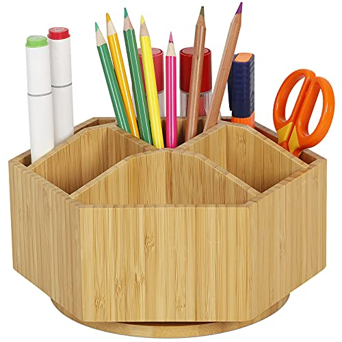 Bamboo Rotating Art Supply Organizer - Darfoo Office Desk Organizers, Colored Pencil Holder with 7 Sections, Home School Supplies Organizer and Storage for Pen Pencil Crayon Marker and Craft Supplies