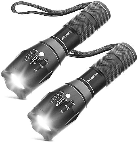 [2 Packs] LED Torches, OUYOOOO High Lumens XML T6 Flashlights with Adjustable Focus and 5 Light Modes, Water Resistan...
