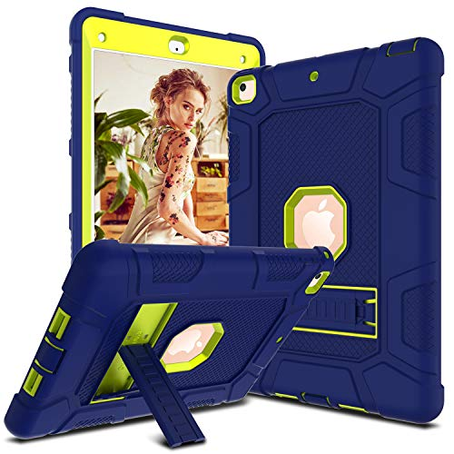 DONWELL Compatible iPad 6th 5th Generation Case, iPad 9.7 inch 2018/2017 Shockproof Defender Protective Cover with Kickstand for iPad 5 iPad 6 Model A1823 A1822 A1893 (Type1- Navy Blue/Lemon Yellow)