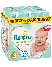 Pampers Premium Care, Rozmiar 3, 204 Pieluszki, Najdelikatniejszy Komfort I Najlepsza Ochrona Skóry Oferowane Przez Pampers, 6kg-10kg