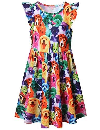 QPANCY Dog Dresses for Girls Flutter Sleeve Swing Summer Sun Dress Outfits,Size 10 11