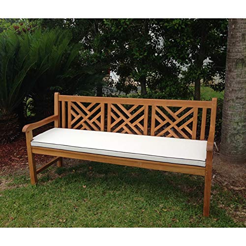 Cushion for Chic Teak Triple Bench Or Swing White Solid Casual Modern Contemporary Nylon Removable Cover Water Resistant
