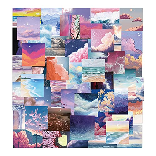 50pcs Romantic Scenery Stickers Beautiful Sky Cloud Sticker Journaling Sticker For Water Bottles , Waterproof, Aesthetic, Trendy Stickers For Teens, Girls Perfect For Waterbottle, Laptop, Phone, Travel Extra Durable Vinyl
