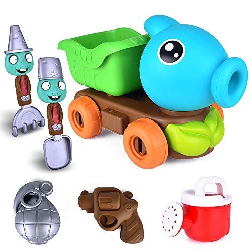 6 Paquete, tema creativo de plantas, juegos de juguetes de playa de dibujos animados, juego de juegos al aire libre para niños, divertido juguete de arena, auto hacia adelante, herramientas múltiples,