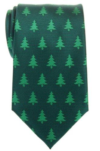 Retreez Christmas Tree Pattern Woven Microfiber Men's Tie - Green