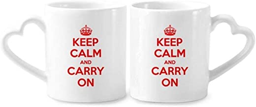 cold master DIY lab Quote Keep Calm And Carry On Red Couple Mugs Ceramic Lover Cups Heart Handle 12oz Gift Multicolor