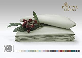 Pizuna Soft Absorbent Cotton Cloth Small Dinner Napkins Light Sage 6pc 14 Inch x 14 Inch, 100% Long Staple Cotton Sateen Weave Rich Sheen Reusable Lunch Napkins (100% Cotton Light Green Napkins)