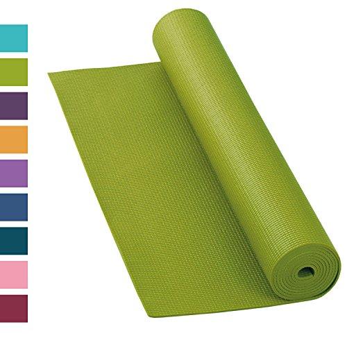 Yogamatte ASANA MAT, 183 x 60cm, 4mm PVC mit ÖKO-TEX 100, gute Yoga-Matte nicht nur für Anfänger, Sticky Mat, Gymnastikmatte, phtalatfrei, schadstofffrei (olive-grün)