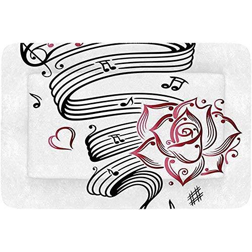 YAGEAD Tattoo Decor Einfaches Haustierbett, Bleistiftzeichnung Romantische Sanduhr Symbol der ewigen Liebe mit Rosenmuster