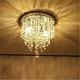 (US Fast Shipment) Mini Chandelier, Crystal Chandelier Lighting, 2 Lights, 40W, Flush Mount Ceiling Light, H10.4'' x W9.8'' Modern Chandelier Lighting Fixture for Bedroom, Hallway, Bar, Kitchen