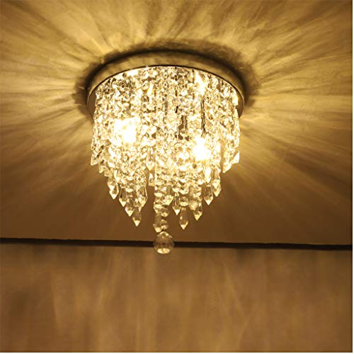 [Shipment from US] Mini Chandelier, Crystal Chandelier Lighting, Flush Mount Ceiling Light, Modern Chandelier Lighting Fixture for Bedroom, Hallway, Bar, Kitchen, Bathroom