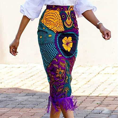 LIUYUNN Röcke Für Damen,Sommer Print Rock Vintage Blumen Afrikanische Mode Hohe Taille Quaste Eleganter Retro Midi Rock Enger Langer Bodycon Rock Für Den Täglichen Gebrauch Büro, Mittel