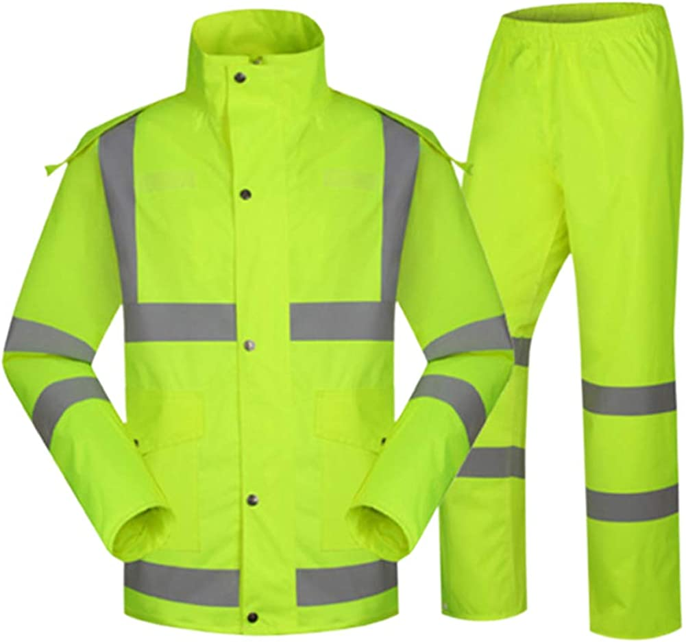 Janjunsi Reflective Waterproof Rainsuit Visibility Traffic Safety Workwear