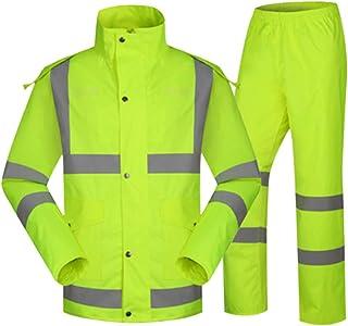 Hzjundasi Adult Reflective Rainsuit - Oxford Lightweight Outdoor Rain Jacket Trouser Set Visibility Waterproof Work Safety...