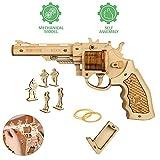 GRASSAIR Modelo de Revolver de Rompecabezas de Madera 3D DIY Puzzle Toy Set con Banda de Goma y 5 Villanos Kit de ensamblaje Woodcraft niños Adolescentes