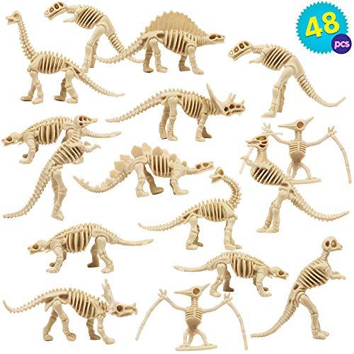 48 Plastik-Dinosaurier Fossile Skelette - Perfektes Spielzeug Dinosaurier und prähistorische Kreaturen für Kinder - ideales Innenspielzeug für stundenlangen Spaß und Lernen für Kinder