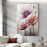 Guolipin Druck auf Leinwand Handgemaltes Ölgemälde Blumen Dekorative Leinwand Wohnzimmer