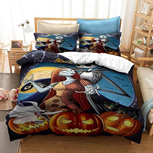 YZHY Juego de cama de matrimonio con diseño de calavera y Sally Valentine para adultos, tamaño king, Pesadilla antes de Navidad, para niños (L,220 x 240)