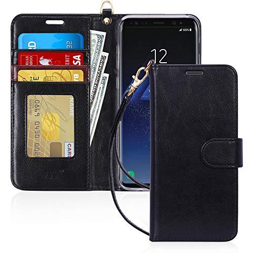 FYY Capa carteira de luxo de couro PU para Samsung Galaxy S8 Plus, [recurso de suporte] Capa protetora com flip [porta-cartão] [alça de pulso] para Samsung Galaxy S8 Plus preta