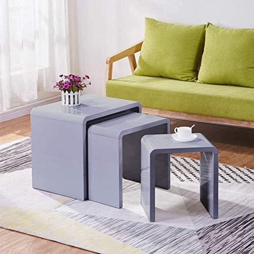 GOLDFAN Juego de 3 mesitas de café con acabado brillante y rectangular, diseño moderno, para salón, dormitorio, oficina, color gris