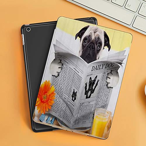 Cover per iPad 10.2 2019,Pug Puppy Reading The Newspaper Toilet Pug Joke Print,Ultra Sottile Leggero Pelle PU Stand Flip Folio Custodia Funzione di Sonno Smart Case