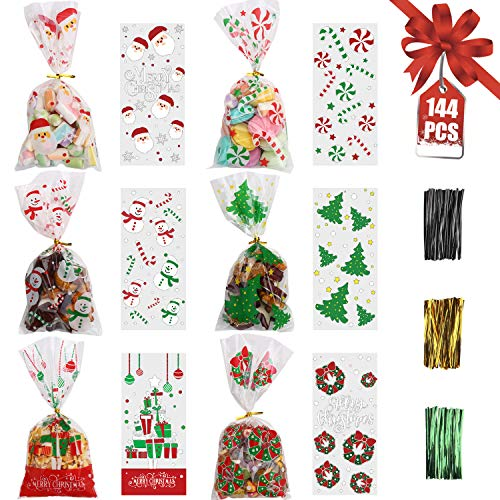 STEFORD 144PCS Christmas Cellophane Bags,Xmas Clear Candy Treat Cellophane Bag with 210PCS Twist Ties for Christmas Party Favors