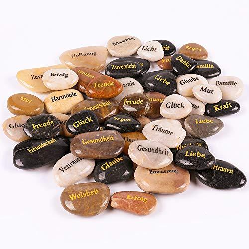 RockImpact 50 Stück Steine mit Spruch Glück Gravierte Steine Gravur Inspirierende Steine Glücksbringer Ermutigung Dankbarkeit Geschenk Glückssteine (Großhandel, Verschiedene Sprüche, je 5-8 cm)