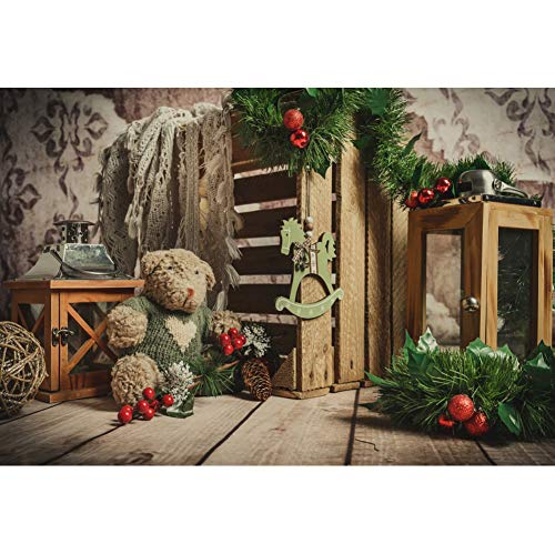 Leyiyi 7x5ft Photography Background Christmas 2019 Happy New Year Party Backdrop Xmas Tree Branch Bear Doll Dreamy Horse Ornament Vintage Telephone Retro Table Santa Workshop Decoration -  22x15NBK15096