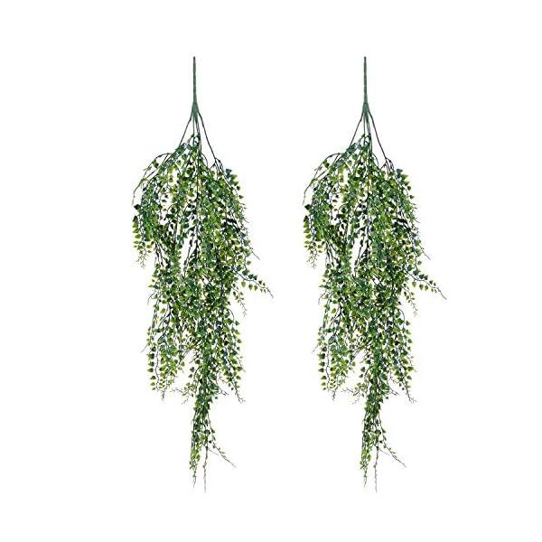 YQing 2 Piezas Artificial Hiedra Planta Colgante, Artificiales Verde Hojas de Hiedra Falsas para Pared Hogar Porche…