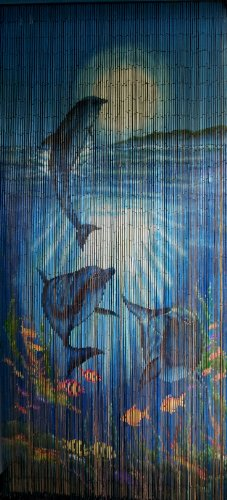 ABeadedCurtain 125 String Tropical Reef Dolphins Beaded Curtain 38% More Strands Handmade with 4000 Beads (+Hanging Hardware)