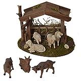 Alfred Kolbe Krippen Am 31 - Accesorios para belén (Refugio de 18 x 14,5 x 13 cm con 4 ovejas Blancas y 3 Cabras, para Figuras de 10-12 cm)