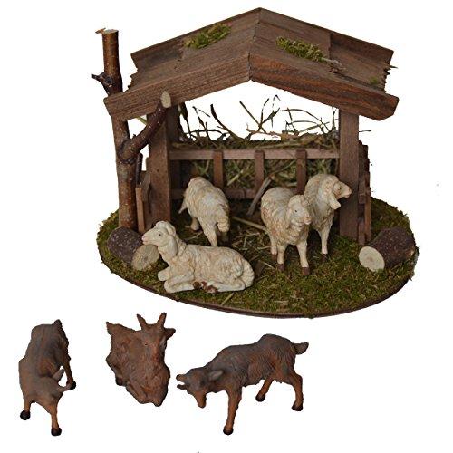 Alfred Kolbe Krippen AM 31 Weihnachtskrippen-Zubehör Set Unterstand 18 x 14,5 x 13 cm mit 4 weißen Schafen und 3 Ziegen für 10-12 cm Figuren
