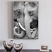 アフリカゾウのポスターとプリント壁アートキャンバス絵画リビングルームの装飾のための黒と白の動物の写真50x70cmフレームレス