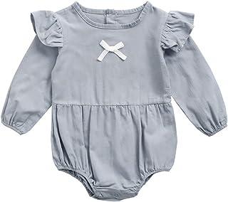 Fairy Baby Girls Outfit Long Sleeve Romper Cotton Ruffle Newborn Bodysuit One Piece