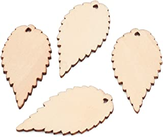 Kissitty 100-Piece Natural Unfinished Blank Wooden Leaf Flat Pendants AntiqueWhite 1.96x1.02 Inch