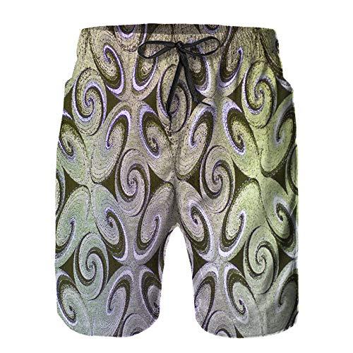 ZHIMI Pantalones Cortos De Playa para Hombres,Hermoso Color en Textura de Vinilo,Pantalones...