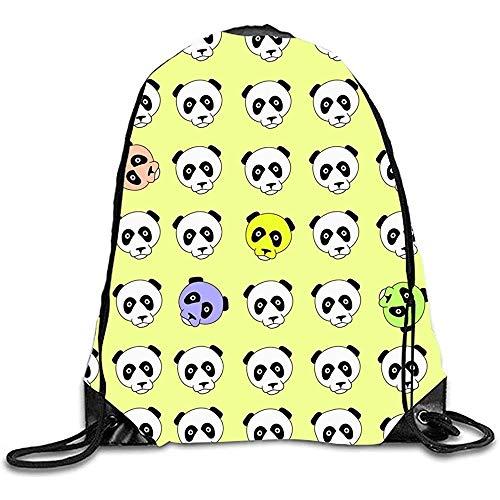 Color Panda Head China Design Print Mochila con cordón Mochila Bolsos de Hombro