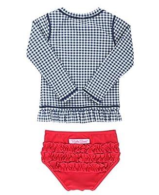RuffleButts Baby/Toddler Girls Navy Gingham Long Sleeve Rash Guard Bikini - 6-12m