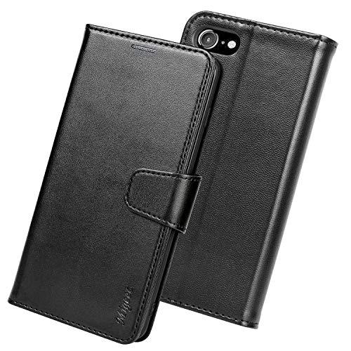 Migeec Handyhülle [RFID Blocking] Kompatibel mit iPhone SE 2020 Hülle iPhone 7 Hülle iPhone 8 Hülle Tasche Flip Cover Schutzhülle - Schwarz