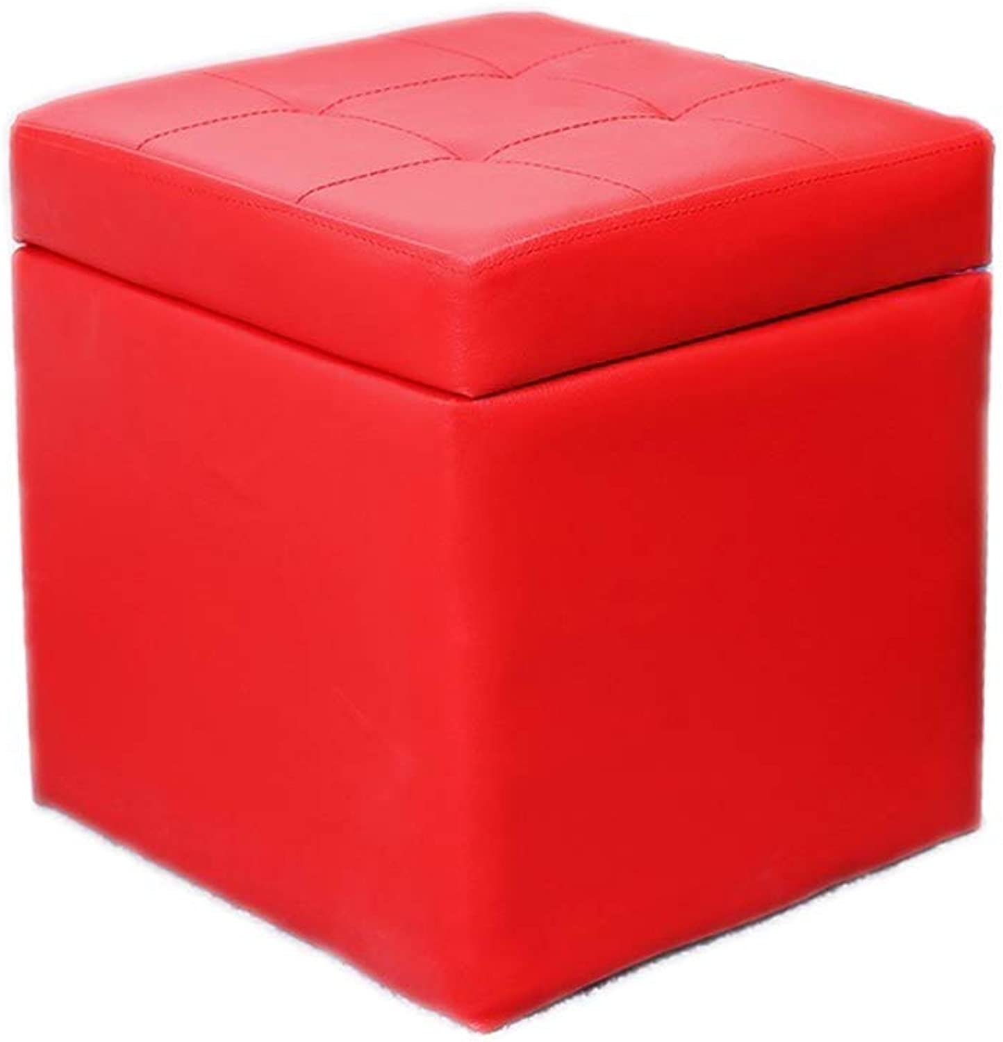 Storage Stool Footstool Footstool Foldaway Toy Storage Box Cube Pouffe Seat Stool Chest Chair Trunk Practical Footrest LEBAO (color   Red)